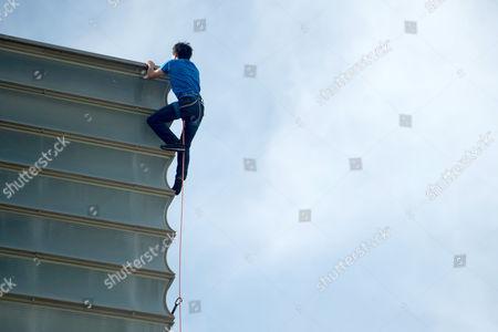 Stock Picture of David Lama climbs the Kursaal building