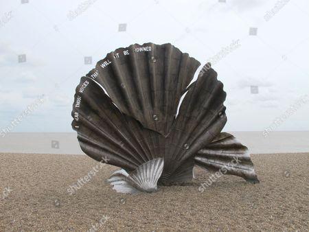 The Scallop sculpture by Maggie Hambling, Aldeburgh beach, Suffolk