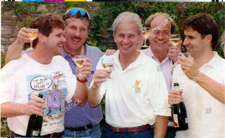David Gower Cricketer. Party Time: David Gower Celebrates With Robin Smith Ian Botham And Best Man (l) Chris Cowdrey. David Gower Bare Chested Since His Shirt Was Covered With Raspberry Sauce Emerged From Ian Botham's Holiday Cottage In The Early Hours Today And Stood Belligerently Addressing A Lighthouse. In The Finest Traditions Of British Cricket His Friends Had Promised Him A Stag Night To Remember And Despite Holding It In Positively The Quietest Corner Of The British Isles It Is Not A Night That He Will Easily Forget....cricketer **original Print Held In Kensington** Pkt5037-370108.