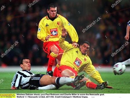 Nikolaos Dabizas shoots past Paul Robinson and Charlie Miller to score the Newcastle goal Watford 1:1 Newcastle United 20/11/99 Great Britain London