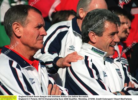 England Coach Kevin Keegan and assistant Arthur Cox before the match England 3:1 Poland UEFA Championship Euro 2000 Qualifier Wembley 27/3/99 Great Britain London