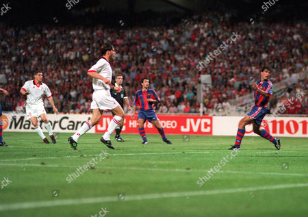 Daniele Massaro (left) scores the 2nd goal for AC Milan AC Milan v Barcelona European Champions Cup Final 18/05/1994 Greece Athens