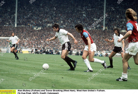 Alan Mullery (Fulham) and Trevor Brooking (West Ham) West Ham United v Fulham FA Cup Final 3/5/75 Great Britain London
