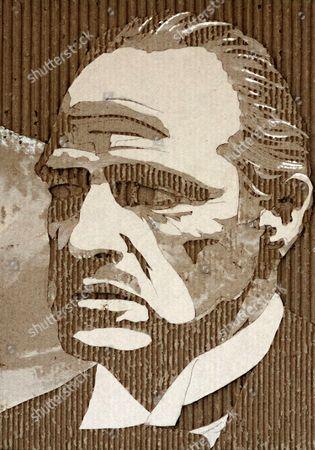 Marlon Brando carboard portrait by Giles Oldershaw