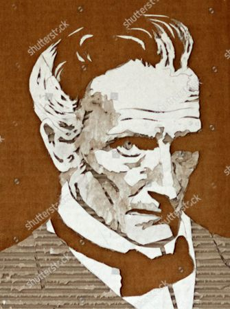 Peter Cushing carboard portrait by Giles Oldershaw