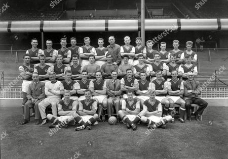 Stock Image of Aston Villa Football Club 1959-60 Back Row (L>R) P Aldis S Lynn P McParland J Neal R Carter E Buckley R Taylor (Assistant Manager) C Noakes A Jones H Burrows P Page and B Train Standing (L>R) P Saward G Lee G Hithens J Dugdale W Beaton N Sims K Keelan T Birch R Handley T Morrall and T Eden Sitting (L>R) F Archer (secretary) R Shaw (trainer) R Thomson J Adam V Crowe J Mercer (Manager) J Dixon L Smith J Sewell R Wylie P Hunt (Assistant Trainer) Ground (L>R) A Deakin M Tindall W Hazelden and J Lumsden Great Britain Birmingham