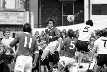 Stuart Pearson - Manchester United Beating John Lacy(No 5) - Fulham to a centre Fulham v Manchester United 5/10/74 Great Britain London