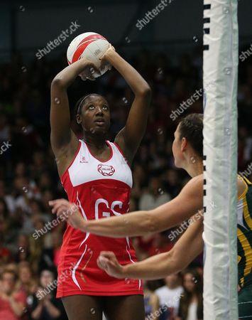 Kadeen Corbin of England Netball shoots