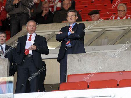 owner Ellis Short of Sunderland watches the warm up untypicaly