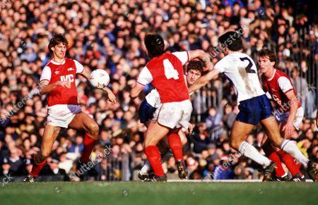 Tony Adams and Brian Talbot (Arsenal) and Gary Stevens and Mark Falco (Tottenham) Arsenal v Tottenham Hotspur Division One 1/1/85 Great Britain London Arsenal 1 Spurs 2