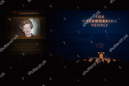 Tribute to Baroness Margaret Thatcher is played on the video screen
