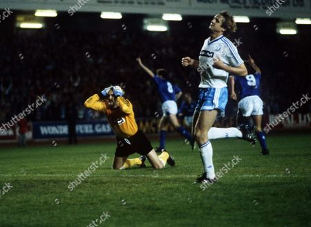 Mark Falco and Ally McCoist celebrate goal no 1 after a mistake involving goalkeeper Chanov (Ground) Glasgow Rangers v Dinamo Kiev European Cup 1st rd 30/9/87 Credit : Andrew Cowie/Colorsport Great Britain Glasgow Euro Cup R1 2nd: Rangers 2 (2) D Kiev 0 (1)
