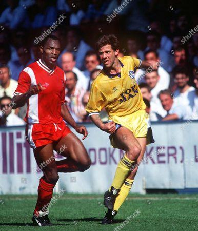 Jim Beglin (Leeds) Luther Blissett (Bournemouth) Bournemouth v Leeds United 5/5/90 Great Britain Bournemouth Bournemouth 0 Leeds Utd 1