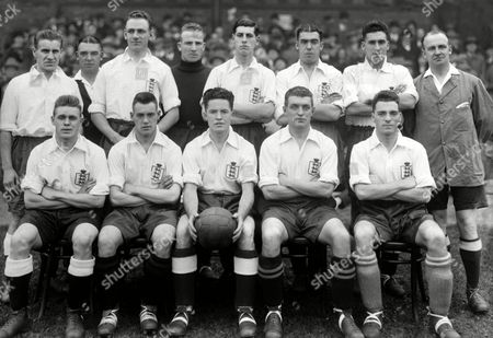 Stock Image of England Football team 1932 v Ireland (at Blackpool) Back row : Alf Strange Kingscott (referee) Roy Goodall Harry Hibbs Peter O'Dowd Dixie Dean Sam Weaver Linesman ? Front row : Sam Crooks Robert Barclay Ernest Blenkinsop Thomas Johnson Arthur Cunliffe Great Britain ENGLAND 1 N Ireland 0 (Blackpool)