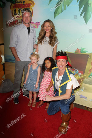 Rebecca Gayheart, husband Eric Dane, daughter Billie Beatrice and friend Coco with costumed character