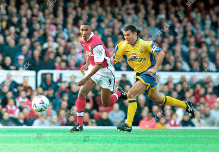 Nicolas Anelka (Arsenal) and Francis Benali (Southampton) Arsenal v Southampton FA Carling Premiership 17/10/98 Great Britain London