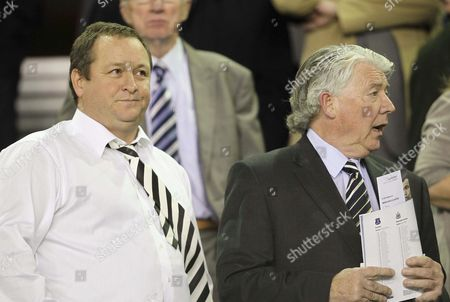 Newcastle United director of football Joe Kinnear and owner Mike Ashley look on from the stand