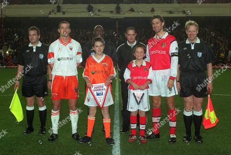Tony Adams with Ben Hasking the Arsenal Mascot and Blackpool captain Ian Hughes Arsenal v Blackpool FA Cup 3rd Round 13/12/99 Great Britain London