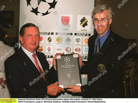 Arsenal Chairman Peter Hill-Wood presentation before the match Arsenal 3:1 AIK Solna UEFA Champions League Wembley Stadium 22/9/99 Great Britain London