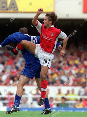 Gilles Grimandi (Arsenal) Ian Marshall (Leicester) Arsenal v Leicester City 7/8/99 Great Britain London