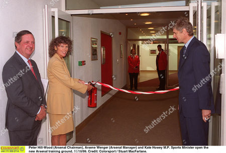 Peter Hill-Wood (Arsenal Chairman) Arsene Wenger (Arsenal Manager) and Kate Howey M P Sports Minister open the new Arsenal training ground 11/10/99 Great Britain London