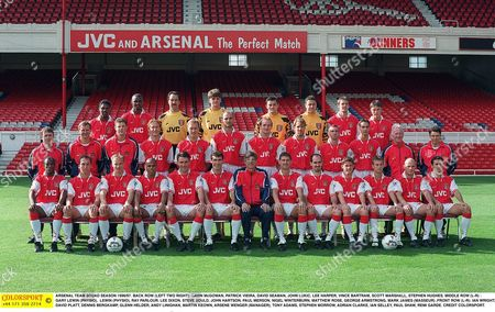 ARSENAL TEAM SQUAD SEASON 1996/97 BACK ROW (LEFT TWO RIGHT): GAVIN McGOWAN PATRICK VIEIRA DAVID SEAMAN JOHN LUKIC LEE HARPER VINCE BARTRAM SCOTT MARSHALL STEPHEN HUGHES MIDDLE ROW (L-R) : GARY LEWIN (PHYSIO) LEWIN (PHYSIO) RAY PARLOUR LEE DIXON STEVE BOULD JOHN HARTSON PAUL MERSON NIGEL WINTERBURN MATTHEW ROSE GEORGE ARMSTRONG MARK JAMES (MASSEUR) FRONT ROW (L-R): IAN WRIGHT DAVID PLATT DENNIS BERGKAMP GLENN HELDER ANDY LINIGHAN MARTIN KEOWN ARSENE WENGER (MANAGER) TONY ADAMS STEPHEN MORROW ADRIAN CLARKE IAN SELLEY PAUL SHAW REMI GARDE