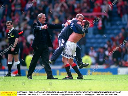 FOOTBALL - PAUL GASCOIGNE CELEBRATES RANGERS WINNING THE LEAGUE WITH MANAGER WALTER SMITH AND ASSISTANT ARCHIE KNOX 28/4/1996 RANGERS 3:0 ABERDEEN Great Britain Glasgow