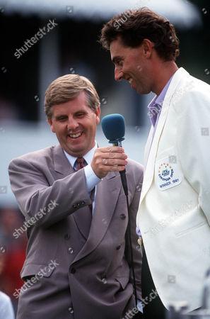 Steve Ryder interviews Mike Harwood GA European Open Golf Walton Heath Surry 1/09/1991 Great Britain