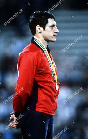 Alan Wells (GBR) 100 metres Gold Medal winner Moscow Olympics 25/07/1980 USSR Moscow