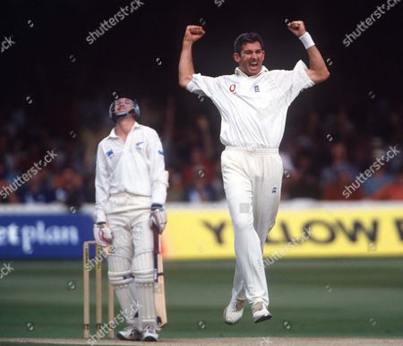 Andrew Caddick (England) celebrates taking the wicket of Matt Horne (New Zealand) England v New Zealand 2nd Test Match Lords July 1999 Great Britain London 2nd Test: Eng v NZ (Lord's)