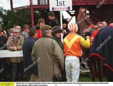 Ginger Fox is congratulated by trainer Jenny Pitman after winning the The River Don Novices Hurdle at Doncaster Horse Racing 1998 Great Britain Doncaster