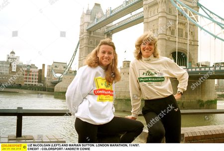 LIZ McCOLGAN (LEFT) AND MARIAN SUTTON LONDON MARATHON 11/4/97 Great Britain London