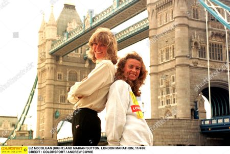 LIZ McCOLGAN (RIGHT) AND MARIAN SUTTON LONDON MARATHON 11/4/97 Great Britain London