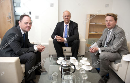 Conservative Justice Secretary Chris Grayling With Mail Writers James Chapman And James Slack.