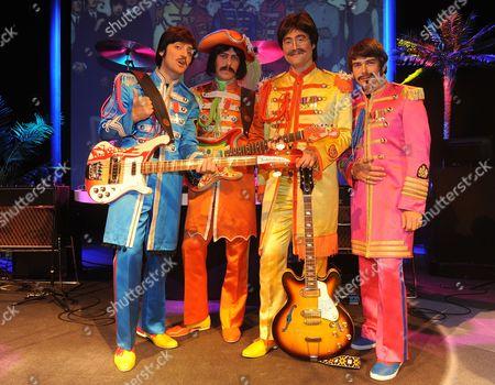 The Beatles Re-borna. Paul Emanuele Angeletti George Stephen Hill John Reuven Gershon And Ringo Gordon Elsmore At The Prince Of Wales Theatre London.