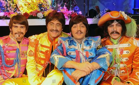 The Beatles Re-borna. Ringo Gordon Elsmore John Reuven Gershon Paul Emanuele Angeletti And George Stephen Hill At The Prince Of Wales Theatre London.