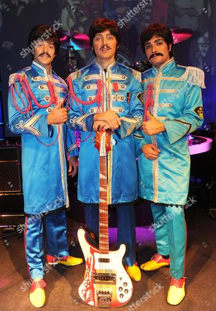The Beatles Re-born. The Three Paul Mccartney's From The Left James Fox Emanuele Angeletti And Ian Garcia At The Prince Of Wales Theatre London