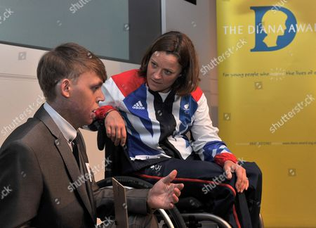 London  UK  24/09/2012 London 2012 Connor Rowntree 18 From Houghton Le Spring (left) Talks To Martine Wright Paralympic Sitting Vollyball Athlete Who Was A Victim Of The 7/7 London Bombings In 2006 And Is Presenting Some Of The Awards At Thethe National Diana Award Ceremony Barclays Building Canary Wharf London Connor Is Accepting The Diana Award For Courageous Citizen.