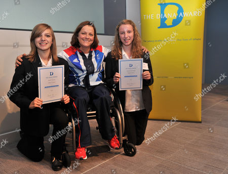 London  UK  24/09/2012 London 2012 Katie Sorrell 14 From Maldon Essex (left) And Emma Mcknight 14 From Maldon Essex (right) With Martine Wright (middle) Paralympic Sitting Vollyball Athlete Who Was A Victim Of The 7/7 London Bombings In 2006 And Is Presenting Some Of The Awards At Thethe National Diana Award Ceremony Barclays Building Canary Wharf London Katie And Emma Are Receiving The Diana Award For Anti Bulling Champions.