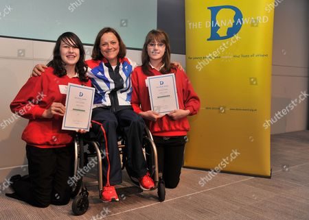 London  UK  24/09/2012 London 2012 Carrie Nicholls 14 From Gloucestershire (left) And Rebekah Hedges 14 From Gloucestershire (right) With Martine Wright (middle) Paralympic Sitting Vollyball Athlete Who Was A Victim Of The 7/7 London Bombings In 2006 And Is Presenting Some Of The Awards At Thethe National Diana Award Ceremony Barclays Building Canary Wharf London Carrie And Rebekah Are Receiving The Diana Award For Champion Campaigners.