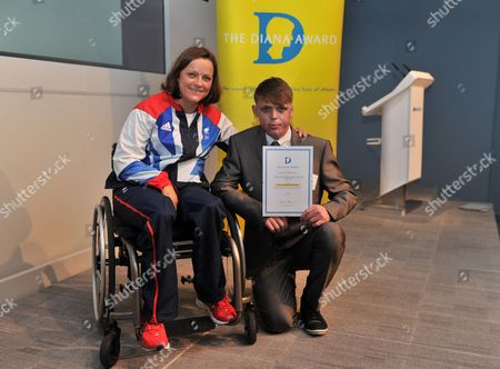 London  UK  24/09/2012 London 2012 Connor Rowntree 18 From Houghton Le Spring (right) With Martine Wright Paralympic Sitting Vollyball Athlete Who Was A Victim Of The 7/7 London Bombings In 2006 And Is Presenting Some Of The Awards At Thethe National Diana Award Ceremony Barclays Building Canary Wharf London Connor Is Accepting The Diana Award For Courageous Citizen.