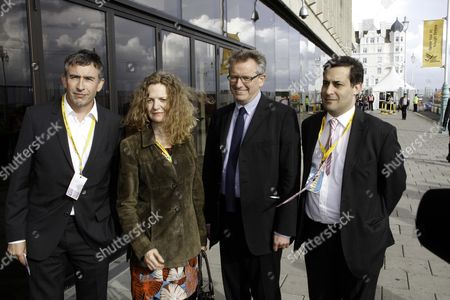 The Liberal Democrat Conference In Brighton. Actor Steve Coogan Arrives At The Conference With Members Of The Hacked Off Group. Ltor: Steve Coogan Joan Smith Journalist Prof. Brian Cathcart And Evan Harris Associate Director Of Hacked Off.