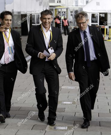 The Liberal Democrat Conference In Brighton. Actor Steve Coogan Arrives At The Conference With Members Of The Hacked Off Group. Coogan Is Pictured With Prof. Brian Cathcart And Evan Harris Left.