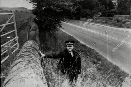 Editorial image of Pc Paul Dugdale Near The Spot Where The Monocled Mutineer Percy Toplis Was Shot Dead In Plumpton The Scene Of The 1920 Roadside Encounter Near Plumpton Cumberland Between The Penrith Police And Percy Toplis Which Ended In The Fugitive Being Shot Dead