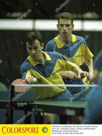Stock Photo of COPYRIGHT COLORSPORT PICTURE BY STEWART FRASER 29/3/94 EUROPEAN TABLE TENNIS CHAMPIONSHIPS BIRMINGHAM TEAM SEMI-FINALS ALAN COOKE & CARL PREAN ENGLAND European Table Tennis Champiopnships