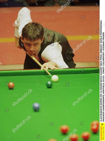 ALAN McMANUS DURING HIS 1st ROUND MATCH AGAINST MICK PRICE EMBASSY WORLD PROFESSIONAL SNOOKER CHAMPIONSHIPS SHEFFIELD 23/4/96 Great Britain Sheffield