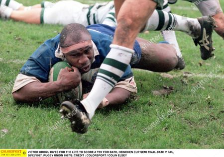 VICTOR UBOGU DIVES FOR THE LINE TO SCORE A TRY FOR BATH HEINEKEN CUP SEMI FINAL BATH V PAU 20/12/1997 RUGBY UNION 1997/8 Great Britain Bath