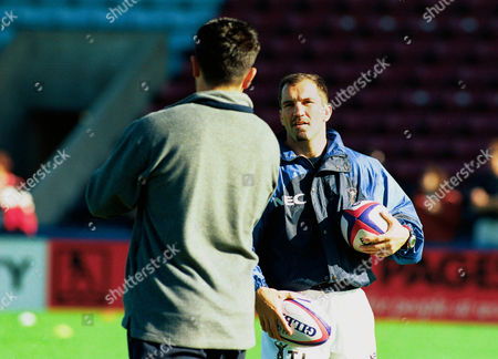 Thierry Lacroix (Harlequins) talks to Zinzan Brooke (Player Coach) before the game Harlequins v Saracens Allied Dunbar Premiership 17/10/98 Great Britain London