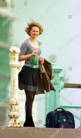 Stock Image of CORONATION STREET TV SERIES FILMING IN BRIGHTON BRITAIN CHLOE NEWSOME ACTRESS