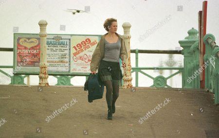 Stock Photo of CORONATION STREET TV SERIES FILMING IN BRIGHTON BRITAIN CHLOE NEWSOME ACTRESS